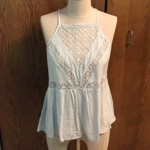 Baby blue lace tank